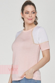 Джемпер женский 191-4920 Фемина (Бледно-розовый/пайетки песочный/белый)