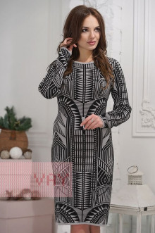 Платье женское 2276 Фемина (Светло-серый/черный)