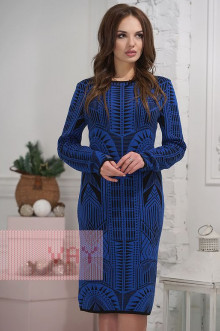 Платье женское 2276 Фемина (Черный/электрик)